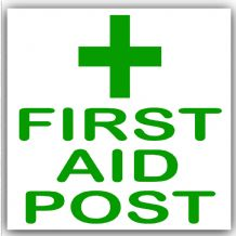 1 x First Aid Post-Green on White,External Self Adhesive Stickers-Medical,Health and Safety Signs